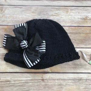 Crocheted baby black beanie hat with double bow
